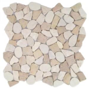 Natursteinmosaik Kieselmosaik mit Bruchmosaik KMBM105 unverfugt
