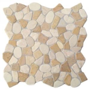 Natursteinmosaik Kieselmosaik mit Bruchmosaik KMBM105 verfugt