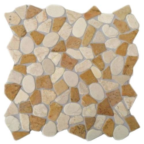 Natursteinmosaik Kieselmosaik mit Bruchmosaik KMBM105 verfugt und versiegelt