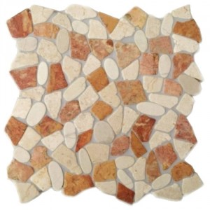 Natursteinmosaik Kieselmosaik mit Bruchmosaik KMBM106 verfugt und versiegelt