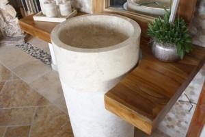 Standwaschbecken Marmorsäule Helgoland XL Creme