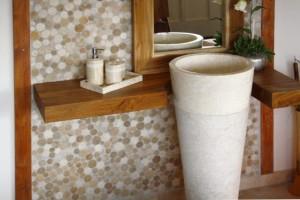 Standwaschbecken Marmorsäule Creme