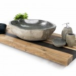 Waschtischplatte recyceltes Holz