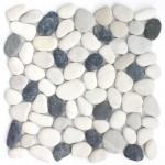 Flusskiesel auf Netz Premium Mix weiß / grau / anthrazit